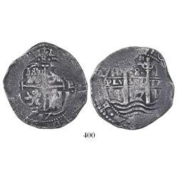Potosi, Bolivia, cob 8 reales, 1657E, PH at top of pillars, •8• above cross.