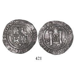 "Mexico City, Mexico, 2 reales, Charles-Joanna, ""Late Series,"" assayer O to right, mintmark oM to lef"