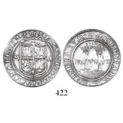 """Mexico City, Mexico, 1 real, Charles-Joanna, """"Late Series,"""" assayer A to right, mintmark M to left,"""