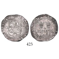 """Mexico City, Mexico, 1 real, Charles-Joanna, """"Late Series,"""" assayer L to left, mintmark M to right."""