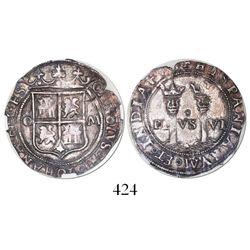 "Mexico City, Mexico, 1 real, Charles-Joanna, ""Late Series,"" assayer O to left, mintmark M (no o) to"