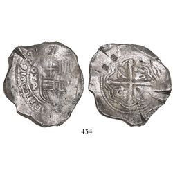 Mexico City, Mexico, cob 8 reales,1652P, with chopmarks and test-cuts as from circulation in the Ori