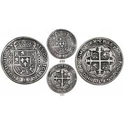 Mexico City, Mexico, cob 8 reales Royal, 1725D, Louis I, double ornaments flanking ordinal, extremel