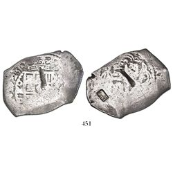 Mexico City, Mexico, cob 8 reales, 1725D, very rare, with Indonesian countermark (date AH1230 = 1814