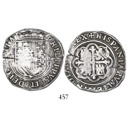 Mexico City, Mexico, cob 4 reales, Philip II, assayer O below mintmark oM to right.