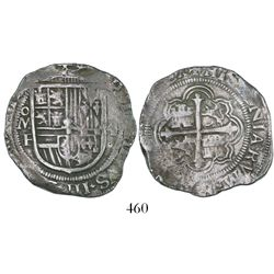 Mexico City, Mexico, cob 4 reales, Philip III, assayer F, GRATIA in legend (pre-dated).