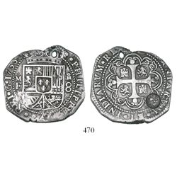 Mexico City, Mexico, klippe 8 reales, 1733MF, with sun-over-mountains (Type II, 1843) countermark of