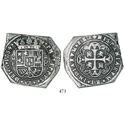 Mexico City, Mexico, klippe 8 reales, 1734MF.