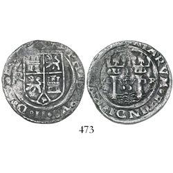 Lima, Peru, 2 reales, Philip II, assayer R (Rincon) to left, motto PL-VSV-TR, rare.