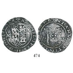 Lima, Peru, 2 reales, Philip II, assayer R (Rincon) to left, motto PL-VSV-LT, rare.
