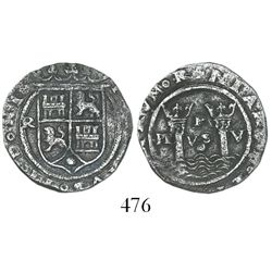 Lima, Peru, 1 real, Philip II, assayer R (Rincon) to left, motto PL-VS-V with dot below, obverse leg