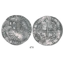 Lima, Peru, cob 8 reales, Philip II, assayer Diego de la Torre, (P)-8 to left, *-oD to right.