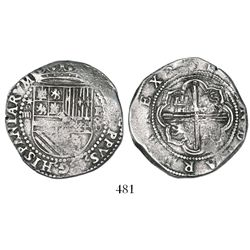 Lima, Peru, cob 4 reales, Philip II, assayer Diego de la Torre, *-oIIII to left, P-oD/X to right, ve