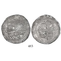 Lima, Peru, cob 4 reales, Philip II, assayer Diego de la Torre, *-4 to left, P-oD to right.