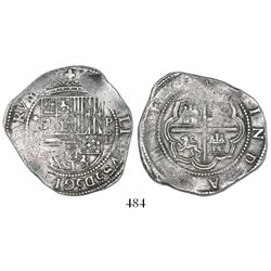 Lima, Peru, cob 4 reales, Philip II, assayer Diego de la Torre, *-(oIIII) to left, P-oD to right.
