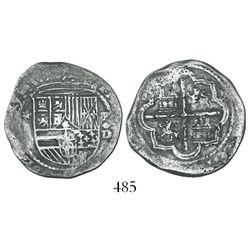 Lima, Peru, cob 2 reales, Philip II, assayer Diego de la Torre, *-(ii) to left, P-oD/X to right, ver