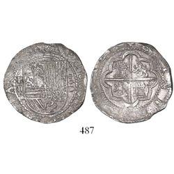 Lima, Peru, cob 2 reales, Philip II, assayer Diego de la Torre, P-ii to left, *-oD to right.