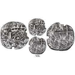 """Lima, Peru, cob 2 reales, 1660V, """"Star of Lima"""" type (Series III), extremely rare."""