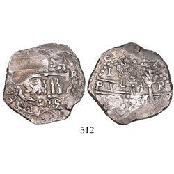 Lima, Peru, cob 4 reales, 1695R.