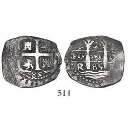 Lima, Peru, cob 2 reales, 1685R.