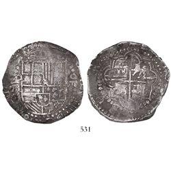 Potosi, Bolivia, cob 8 reales, Philip III, assayer R (curved leg), ex-Karon collection.