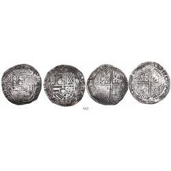 Lot of 2 Potosi, Bolivia, cob 8 reales, Philip III, assayer Q.