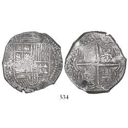 Potosi, Bolivia, cob 8 reales, Philip III, assayer M, unique error with -VRAM and TE (backwards E) i