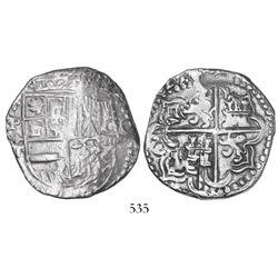 Potosi, Bolivia, cob 8 reales, 1622T, quadrants of cross transposed, rare.