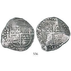 """Potosi, Bolivia, cob 8 reales, Philip IV, assayer T, backwards mintmark (""""q""""), quadrants of cross tr"""