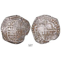 Potosi, Bolivia, cob 8 reales, (16)27T, quadrants of cross transposed, rare, ex-Panama hoard.