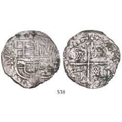Potosi, Bolivia, cob 8 reales, (1)629(T), heavy-dot borders, denomination 8, ex-Panama hoard.