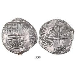 Potosi, Bolivia, cob 8 reales, Philip IV, assayer not visible (late 1620s).