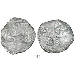 Potosi, Bolivia, cob 8 reales, Philip IV, assayer T? (style of 1630s).