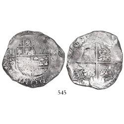 Potosi, Bolivia, cob 8 reales, 1636TR, rare.