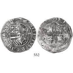 Potosi, Bolivia, cob 4 reales, Philip II, assayer L to left (1st period).