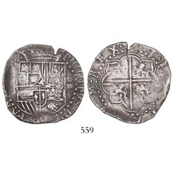 Potosi, Bolivia, cob 4 reales, Philip II, assayer not visible (style of 3rd-period B).