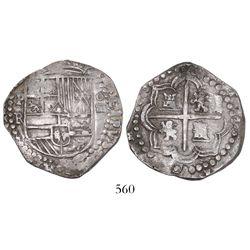 "Potosi, Bolivia, cob 4 reales, Philip II, assayer RL, ex-""Americas"" collection."