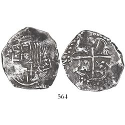 Potosi, Bolivia, cob 4 reales, (16)2(?), assayer not visible, lions and castles transposed in both s