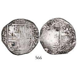 Potosi, Bolivia, cob 4 reales, 1644TR, extremely rare.
