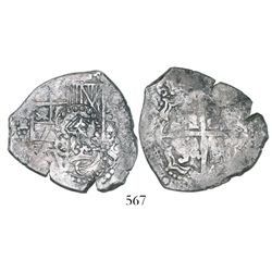 Potosi, Bolivia, cob 4 reales, (1)651E, with two countermarks (very rare) on shield: crowned-C and c