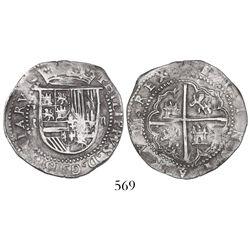 Potosi, Bolivia, cob 2 reales, Philip II, assayer R (Rincon) to left.