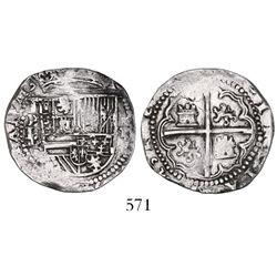 Potosi, Bolivia, cob 2 reales, Philip II, assayer L/L/B (2nd period).