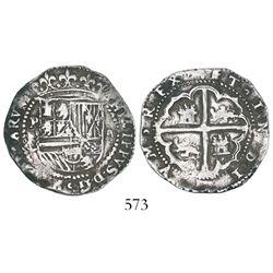Potosi, Bolivia, cob 2 reales, Philip II, assayer C/erasure, rare.