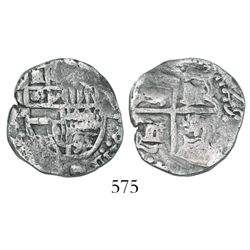 Potosi, Bolivia, cob 2 reales, (1)625P, date at 2-3 o'clock, quadrants of cross transposed, extremel