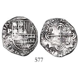 Potosi, Bolivia, cob 2 reales, 1635T, very rare.