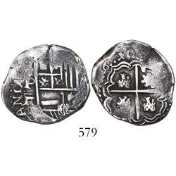 Potosi, Bolivia, cob 2 reales, (1)6(4/3?)0FR, very rare.