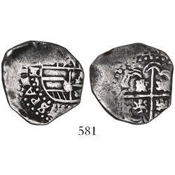 Potosi, Bolivia, cob 2 reales, (16)44TR, very rare.