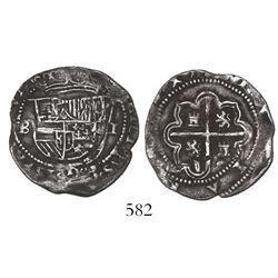 Potosi, Bolivia, cob 1 real, Philip II, assayer B (2nd period).