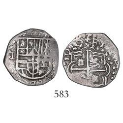 Potosi, Bolivia, cob 1 real, 1618(T), denomination to left, rare.