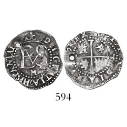 Potosi, Bolivia, cob 1/2 real, Philip II, assayer M below, mintmark P to left of monogram, rare.